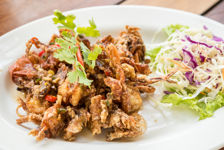 deep fried soft shell crab with black pepper sauce Stock Photo