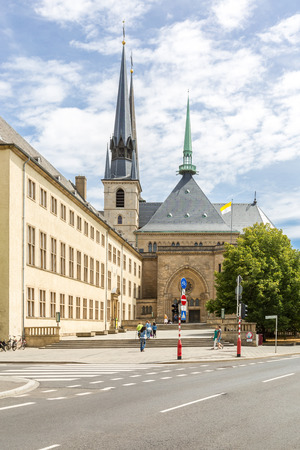 rebuilt: Luxembourg city Cathedral or Grand Duchy of Luxembourg. Stock Photo