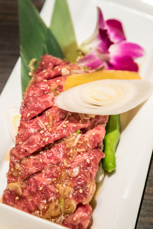wagyu beef chuck steak Japanese meat BBQ yakiniku Stock Photo
