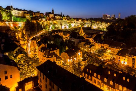 luxembourg: Luxembourg City sunset top view in Luxembourg Stock Photo