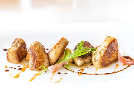gastronomy: Fried Foie gras grilled, gourmet French cuisine. Stock Photo