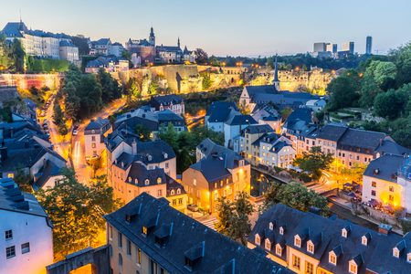 Luxembourg City sunset top view in Luxembourg Stock Photo