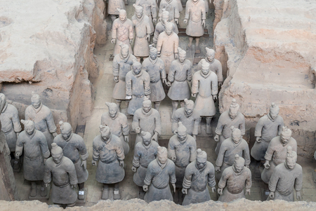terra: Xian China Historic Restored Terra Cotta Warriors ruin in a museum in Xian. Editorial