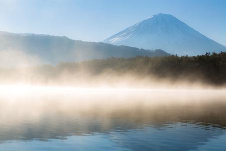saiko: Mountain Fuji in winter sunrise Lake Saiko Stock Photo
