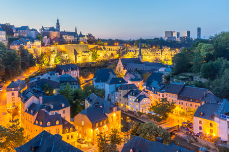 sunset city: Luxembourg City sunset top view in Luxembourg Stock Photo