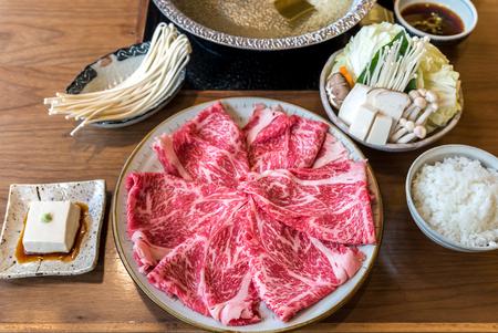 A5 Wagyu beef set for Sukiyaki Shabu Shabu with Vegetable, Groumet Japanese hot pot cuisine Reklamní fotografie - 63985069