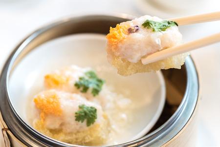 Shrimp Ball with fish maw Chinese dim sum groumet cuisine Stock Photo