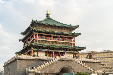 bell tower: Xian bell tower (chonglou) in Xian ancient city of China Editorial