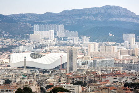 garde: Marseille aerial view from Notre Dame de la Garde in Marseille France