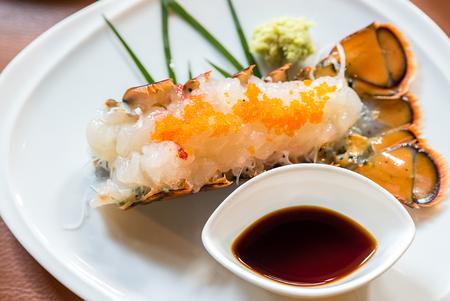 soysauce: lobster sashimi groumet japanese cuisine Stock Photo