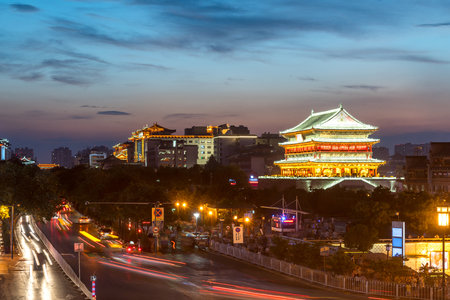 sunset city: Xian drum tower (guluo) in Xian ancient city of China sunset Editorial