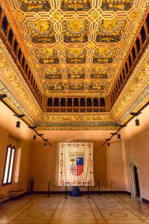 pilasters: Interior of aljaferia alcazar of Zaragoza Spain
