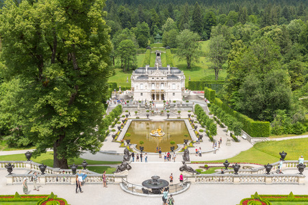 LINDERHOF, GERMANY - JULY 18,2015 - Linderhof Palace is a Schloss in Germany, in southwest Bavaria near Ettal Abbey. It is the smallest of the three palaces built by King Ludwig II of Bavaria Editorial