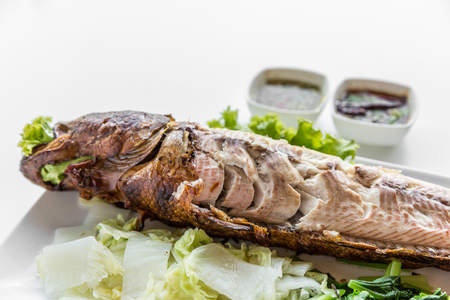 Grilled fish with vegetable and sauce on white background