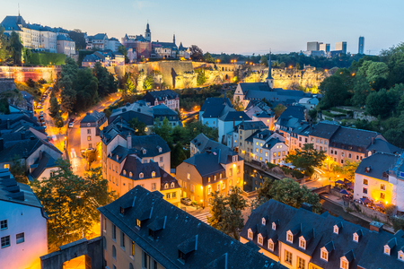 Luxembourg City sunset top view in Luxembourg Imagens