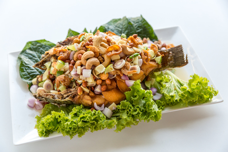 deep fried fish with salad Thai style