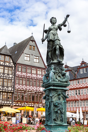 roemerberg: Frankfurt old town with the Justitia statue. Germany