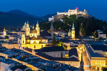 wolfgang: Beautiful view of the historic city of Salzburger Land, Austria Night