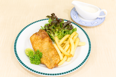 battered: fish and chips with tartare sauce