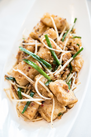 Chinese dim sum Grilled Radish Cakes smother in Chinese Barbecue Sauce Hoisin  - Chinese groumet cuisine