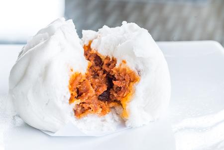 bollos: Chinese dim sum BBQ Pork Bun - Steamed Chinese groumet cuisine
