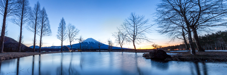 mount: Mount Fuji Fujisan mountain with sunrise Japan Panorama Stock Photo