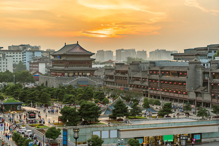 bell tower: Xian drum tower (guluo) in Xian ancient city of China sunset Stock Photo