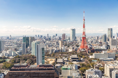 mori: Tokyo Tower with skyline in Tokyo Japan