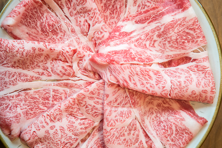 Wagyu A5 Beef meat texture for food background 写真素材