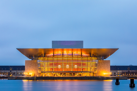 Copenhagen Opera House of Denmark at night twilight Editorial
