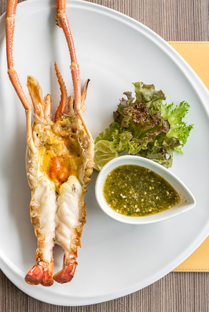 flavored: Grilled mighty tiger river prawn with spicy sauce and lettuce
