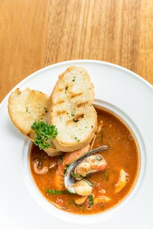 Pasta with Seafood Marinara sauce Stock Photo