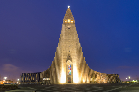 Hallgrimskirkja Cathedral Reykjavik Iceland at sunset twilight