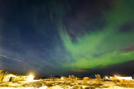 The Northern Light Aurora borealis around Lake Myvatn, Reykjahlid Iceland