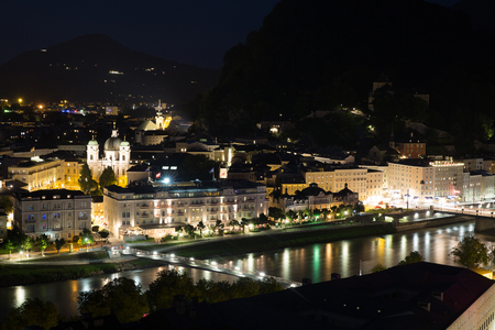 wolfgang: Salzburg Austria, Beautiful view of the historic city of Salzburger Land in Austria at night Stock Photo