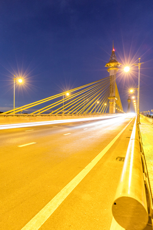 nonthaburi: Maha Chesadabodindranusorn Bridge in Nonthaburi Thailand sunset Stock Photo