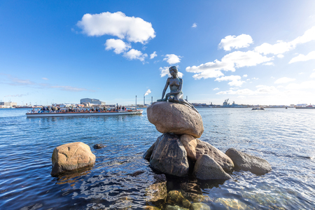 View of the Little mermaid statue in Copenhagen Denmark