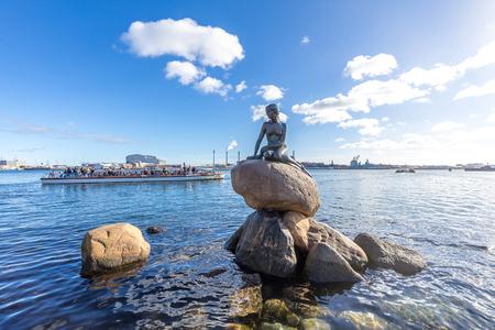 View of the Little mermaid statue in Copenhagen Denmark
