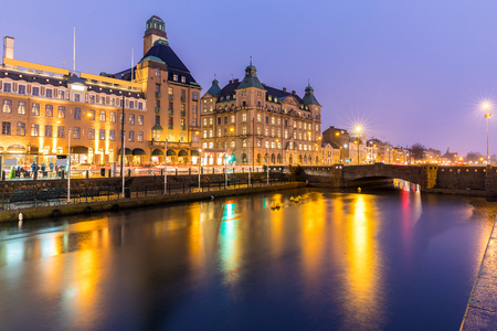 Malmo Cityscape downtown at night twilight in Sweden Stock Photo