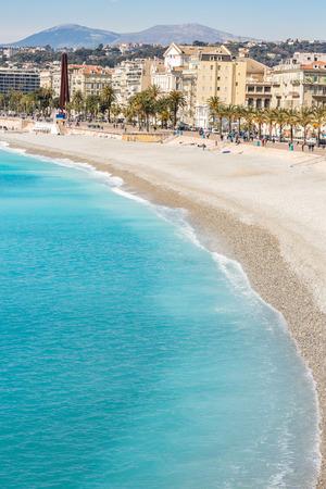 sur: Nice Cote dAzur Riviera France with mediterranean beach sea Stock Photo