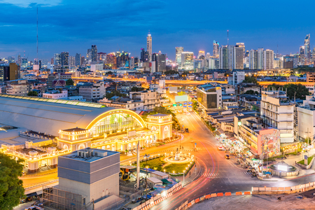 hotel building: Bangkok Central Train Station with Skyline cityscape sunset Thailand