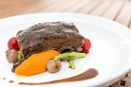 beautiful rare: Slow cook roasted Rib with grilled vegetable