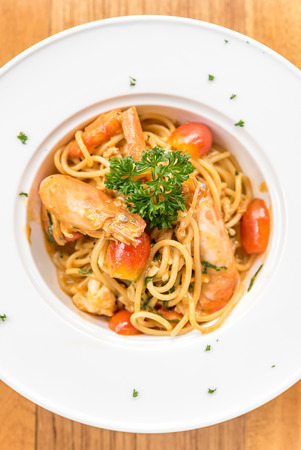 Prawn Pasta with Lobster bisque sauce Stock Photo