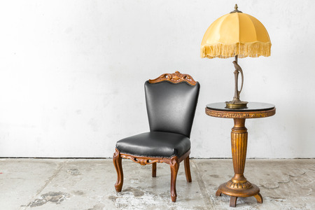 vintage furniture: Black genuine leather classical style chair with lamp