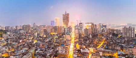 Macau cityscape skyline at dusk. Mocau now is part of China. Panorama Stock Photo - 81471604