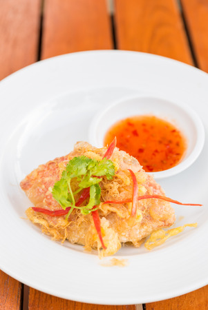 flesh eating animal: Fried crab with sweet sauce