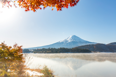 Mt. Fuji in autumn at Kawaguchiko or lake Kawaguchi with snow in Fujikawaguchiko Japan Stock Photo - 83234035