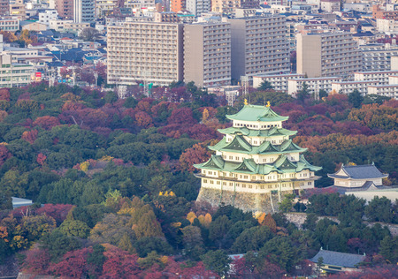 View of Nagoya Castle with Nagiya downtown skyline Reklamní fotografie - 84774969