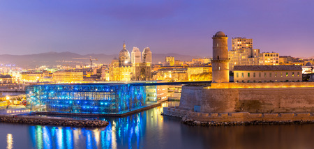 Marseille Saint Jean Castle and Cathedral de la Major and the Vieux port in France panorama Editorial