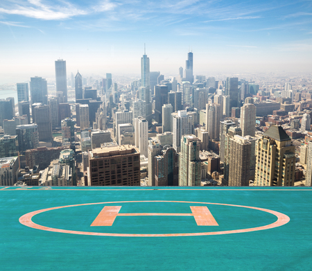 Aerial view of Chicago city USA with helipad